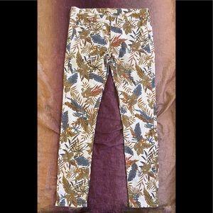 Zara 1975 Denim Tropical Floral Print Jeans